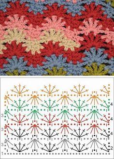Easy Jasmine Crochet Stitch Pattern - C Crochet - Diy Crafts - Picpho Crochet Diy, Crochet Ripple, Manta Crochet, Love Crochet, Crochet Motif, Crochet Ideas, Irish Crochet, Ripple Afghan, Crochet Stitches Chart