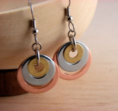 Dangle Earrings Mixed Metal Hardware Jewelry Copper, Steel and Brass Washers. $12.00, via Etsy.