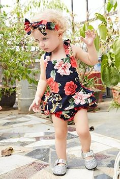 a0a8a4f65 Mikrdoo Newborn Toddler Baby Girl Clothes Floral Ruffles Romper Jumpsuit +  Headband 2pcs Outfits