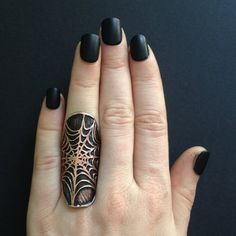 Spider Web Ring Cuff  Halloween Jewlery   by JamieSpinello on Etsy