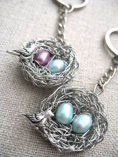 Mother keychains bird nest with two eggs, pink for girls and blue for boys- personalize it. $35 from A Cup of Sparkle