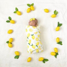 MINI SLEEP CONSULTATIONS: I had SO much fun today chatting with each of our Mini Session Mamas!! We cover everything and anything in a short call, I'll give you a verbal plan, and you have one email to use at your discretion down the road  SLEEP is possible guys!  -  Lemon newborn infant baby photoshoot yellow swaddle little unicorn lemons fruit surrounding wreath