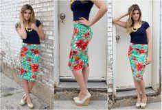 High Waist Floral Print Midi Skirt $21.99 available now @The Nest On Main!!