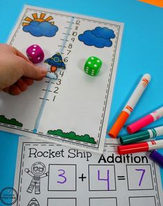 Interactive Rocket Ship Addition Activity for Kids.