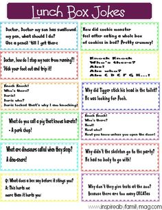 Lunch Box Jokes- You're never too old for corny jokes. Your kids will love finding these fun printable jokes in their lunchbox.