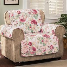 The botanical print on the English Floral Sky Blue Furniture Covers is a stylish way to protect your furniture. These diamond-quilted furniture protectors. Floral Furniture, Floral Chair, Blue Furniture, Furniture Covers, Armchair Slipcover, Slipcovers For Chairs, Chair Cushions, Couch Covers, Upholstery