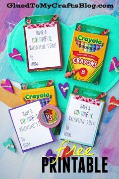 Colorful Valentine's Day – Gift Idea & Free Printable - Geburtstag Kinder Valentines, Valentine Gifts For Kids, Valentine Day Cards, Valentines Diy, Husband Valentine, Printable Valentine, Valentine's Day Quotes, Valentine's Day Crafts For Kids, Kids Diy