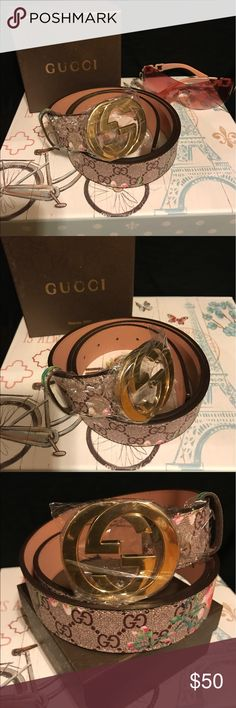 $50 STYLIST PINK & BROWN FLOWERY GUCCI BELT STYLIST FOR THEM JEANS 👖 Gucci Accessories Belts