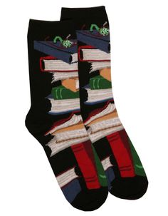Check out our quality and comfy Book Socks or our cool Teacher and Library Apron to help keep you organized during reading and activity time! Cool Books, I Love Books, Book Socks, Librarian Style, Book Jewelry, Crazy Socks, Happy Socks, Fun Socks, Book Lovers Gifts