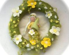 Flower child FairyAtumnPicturetapestryWet feltedNeedle by FilzArts