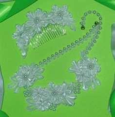 Bridal Kanzashi Necklace & Hair Comb White Satin by MarleanFT, €20.00