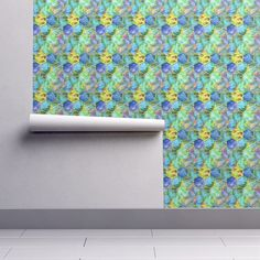 Isobar Durable Wallpaper featuring MAGIC CONTAINED LIGHTNING HEXAGONS blue yellow lime by paysmage | Roostery Home Decor