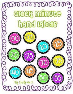 Clock Labels (Polka Dot/Bright Colors!)