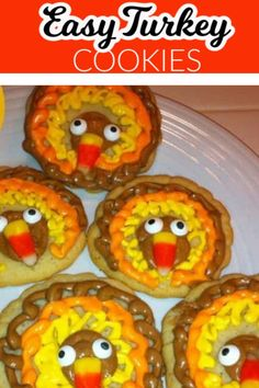 These cute Thanksgiving turkey cookies are a fun Thanksgiving dessert idea. These are made with premade dough and are super easy to make. See the Step by Step tutorial and recommended tips. Thanksgiving Cakes, Thanksgiving Celebration, Thanksgiving Turkey, Delicious Cookie Recipes, Easy Baking Recipes, Baking Ideas, Dessert Recipes, The Joy Of Baking, Baking With Kids
