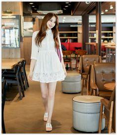 Bongjashop - Drawstring-Waist Mini #Lace #Shirtdress #koreanfashion