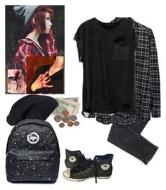 """""""-lays on the sidewalk coughing and holding my wound-~Levi"""" by kahumphh-anon ❤ liked on Polyvore featuring Halogen, 6397 and Converse"""
