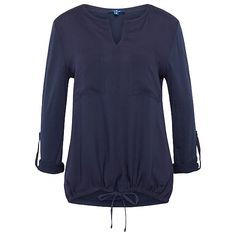 blouse-style shirt in a blend of materials for women (plain-coloured, long-sleeved with rounded neckline and V-shaped opening) - TOM TAILOR