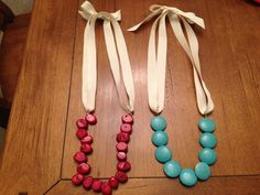 DIY chunky necklaces - just some colorful beads, crimp beads, jump rings and grosgrain ribbon!