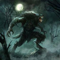 Werewolf by Fred Rambaud 3d Fantasy, Fantasy Monster, Fantasy Artwork, Dark Fantasy, Werewolf Art, Werewolf Legend, Werewolf Games, Vampires And Werewolves, World Of Darkness