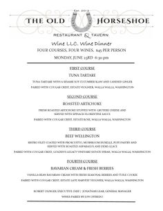 our second monthly wine dinner menu Wine Dinner, Dinner Menu, Roasted Artichoke, Wines, Events