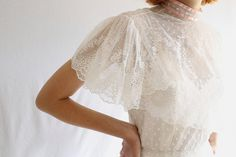 vintage 70s victorian lace wedding dress small by shopiverlee