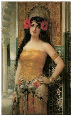 "Dream-art Oil painting Arabs portraits Rug Merchant with Arabian Princess 36/"""