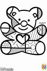 romero britto teddy bear blank ready for colouring