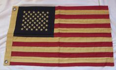 "Rustic Tea Dye Stained Cloth American Flag - Small 17"" x 28"" 50 Stars"