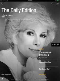 Joan Rivers remembered, new Apple plans and what's new at the box office. Check out today's edition: flip.it/dailyedition