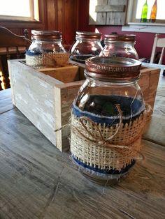 Burlap and denim covered ball jars with rustic barn wood box