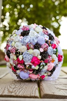 Unique pink/gray/ black fabric rose bridal by Chloesflorals, $80.00
