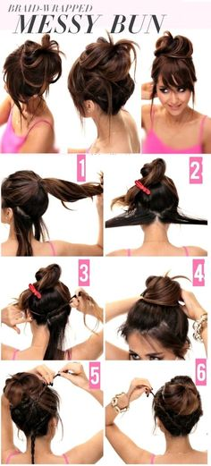 Braid Wrapped Messy Bun hair beauty long hair updo bun diy hair hair tutorial hairstyles tutorials hair tutorials medium hair easy hairstyles - Hairstyles For You Messy Bun Hairstyles, Easy Hairstyles For Long Hair, Diy Hairstyles, Pretty Hairstyles, Bun Updo, Wedding Hairstyles, Hairstyle Tutorials, Hairstyle Braid, Buns For Long Hair