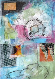 Mixed media collage. Acrylics, found papers, charcoal and colored pencil.