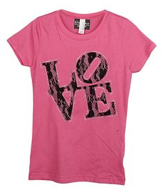 Look at this Rivera-Company Pink & Black Lace 'Love' Tee - Toddler & Girls on #zulily today!