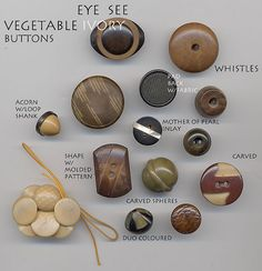 Vegetable Ivory Buttons (Tagua Nut) by YaddaYaYa, via Flickr