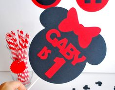 New to Mariapalito on Etsy: Minnie mouse set Happy Birthday Minnie mouse party set banner centerpiece cupcake toppers and more A498 (32.00 USD)