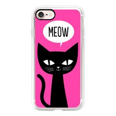 Funny Cute Black Cat Meow Pink - iPhone 7 Case, iPhone 7 Plus Case,... ($40) ❤ liked on Polyvore featuring accessories, tech accessories, iphone case, pink iphone case, iphone cases, apple iphone cases, slim iphone case and iphone cover case