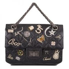Chanel Black Reissue 2.55 Lucky Charm Bag #chanel