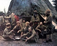 Algerian soldiers ('Spahis') cooking their meal in a village in Oise, France, 1917