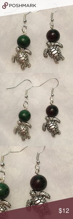 Green Ruby Zoisite Silver Turtle Earrings These beautiful earrings are made with natural ruby zoisite and silver tone turtles. The hooks are sterling silver plated and hypoallergenic.   All PeaceFrog jewelry items are handmade by me! Take a look through my boutique for more unique creations. PeaceFrog Jewelry Earrings