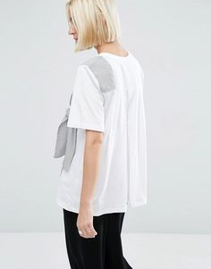 ASOS White | ASOS WHITE T-Shirt With Stripe Tie Detail