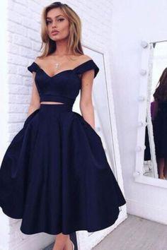 Two Piece Off-the-shoulder Mid-Calf Dark Navy Taffeta Prom Homecoming Dress