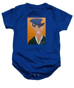 Patrick Francis Royal Blue Designer Baby Onesie featuring the painting Young Man With A Hat 2014 - After Vincent Van Gogh by Patrick Francis