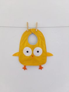 Chick Baby bib, Handmade, 100% Cotton, Infant, Drool bib, Baby boy, Baby girl, Gender neutral, Yellow, Cute bib, Animal bib, Funny, Gift by TootsAndMe on Etsy https://www.etsy.com/listing/186511139/chick-baby-bib-handmade-100-cotton