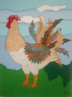 Patch Work: Representación del Gallo Criollo en técnica de parchado añadiendo entintado y texturas variadas