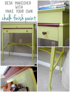 Before and After Desk Makeover using Make Your Own Chalk Finish Paint.  Transformation by @Jenna_Burger, www.sasinteriors.net