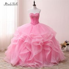 53d8c9ae9e7 modabelle Vintage Sweetheart Beaded Ball Gown Quinceanera Dresses Pink  Ruffles Organza Vestidos Debutante Party Dress 2018