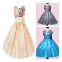 100% Brand new and high quality  Girls Princess Dress Party Wear Children New Sleeveless Sequins Wed