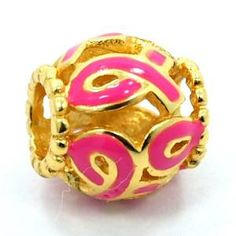 Pandora Breast Cancer Pink Ribbon on Gold Plate Charm