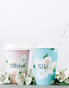 Gorgeous design on these takeaway cups - DIY Art & Crafts : DIY floral cup wraps